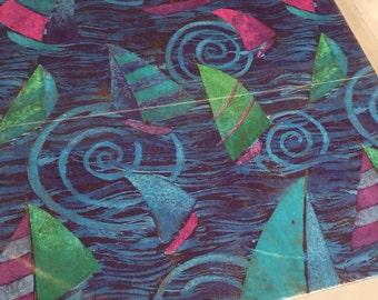vintage wrapping paper sailboat, 2 sheet,  Hallmark gift wrap,Vintage Sailboat Gift Wrap  Sailing Paper, Craft Supplies Scrapbook Supplies,
