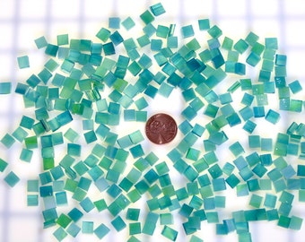 Aqua Lime Stained Glass Mosaic Tile Squares