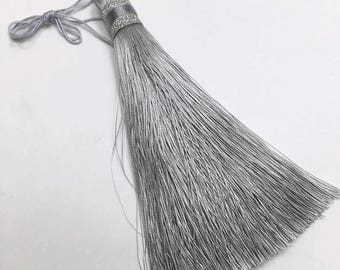 Premium Quality Extra Long Tassel With Silver Glitter Wrap 12 cm - Silver Gray