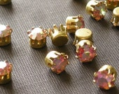 10 Vintage Swarovski Rose Rhinestones in Raw Brass Settings VS001