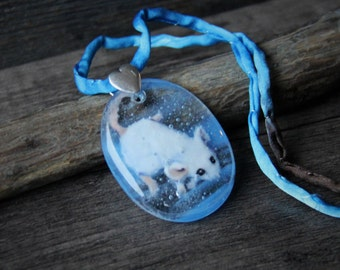 Sweet Little diving mouse in the water necklace  fused glass pendant,  jewelry