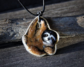 Amazing cute baby Sloth Necklace- Fused glass pendant-
