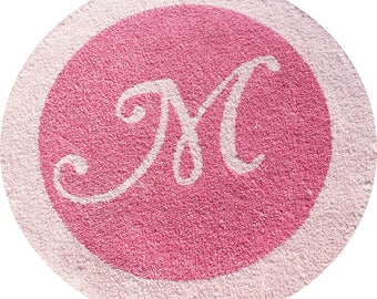 Custom Monogram Initial Inlay Border Plush Area Rug - You Choose the Letter & the Size of Rug Pink