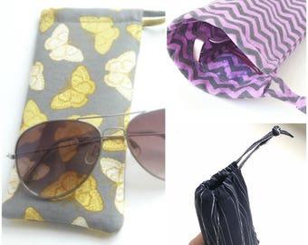 f fabric sunglasses bag. purple fabric eyeglasses drawstring bag. lavender padded glasses pouch for women