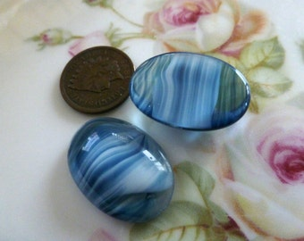 1 Blue White Givre or Porphyr Glass Cab Cabochon, 25x18mm, C38