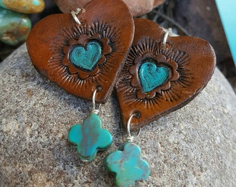 Heart Earrings - Hand Tooled Leather Earrings  - Cowgirl Jewelry - Dark Brown Leather - Turquoise - Sterling Silver - Western Jewelry