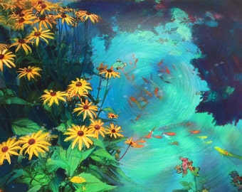 Still summer nights, 16x20 inches, works on paper, mixed media photograph, Original Signed #Fish ponds #art #wall art #Garden art #Floral