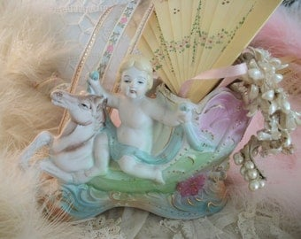 vintage cherub dreamboat vase,  angel riding wild horse, soft bisque finish & pastel colors, shabby chic feminine charm, baby's room nursery