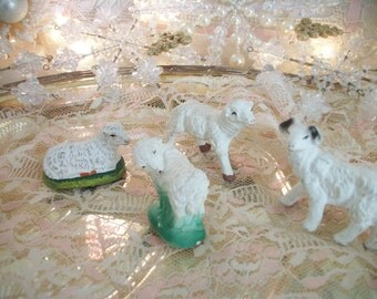 sheep may safely graze. 4 vintage nativity manger scene chalkware lambs, sheep & ram replacement animal figures  christmas crèche or easter