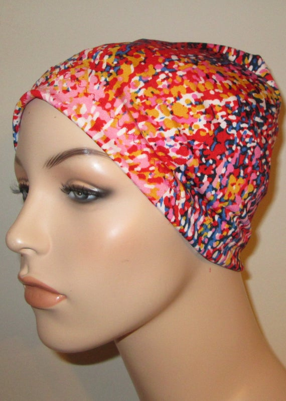 Chemo Hat Lycra Fireworks  Hat Lycra Multi Colors  Play Sleep Cap, Cancer Hat, Alopecia Kids and Adult Chemo Hat