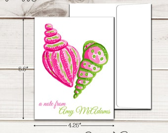 Personalized PREPPY SEASHELLS Note Cards - Set of 12 - Blank Inside with Envelopes