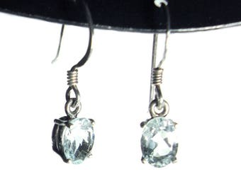 Aquamarine sterling silver french hook earrings