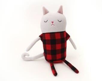 "Cat Sleepy Kitty in Pajamas ""Lumbini"" Cotton Monster Plush"