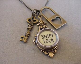 Bronze Typewriter key Necklace SHIFT LOCK and KEY Necklace Bronze Skeleton Key Necklace Keyhole necklace