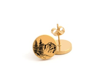 Tree and Mountain Outdoor Photo Earring Stud Earring Stainless Steel Earring (EP 821)