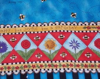 "2 yds Bee Happy Bee Joyful Bee a Gardener Border Fabric flowers and bees 44"" fabric Quilt Sew Supply"