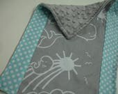 You Are My Sunshine Whales Gray Aqua Baby Burp Cloth 10 x 15 READY TO SHIP On Sale