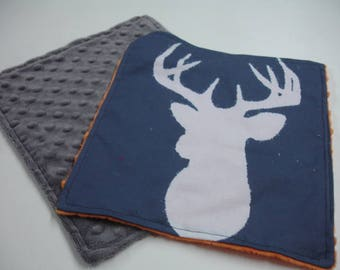 Navy Deer Head with Orange and Gray Minky Baby Burp Cloth Set 10 x 11 READY TO SHIP