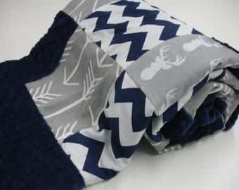 Gray Deer Head and Arrows Navy Chevron with Border Minky Blanket You Choose Size MADE TO ORDER No Batting