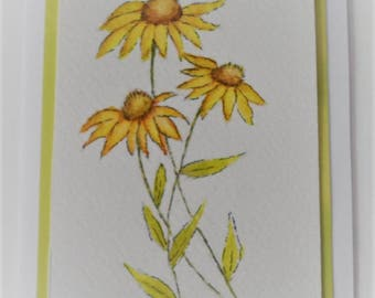 Watercolor Coneflower Card Hand Painted Watercolor Coneflowers Greeting Card Blank Card