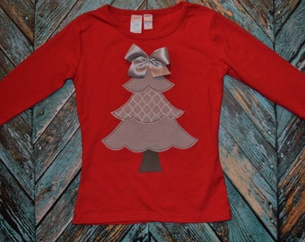 """Girls """"WINTER WOoDS"""" Collection Frilly Layered CHRISTMAS Tree applique shirt size 6-12-18-24 mth 2-3-4-5-6-7-8 red grey prints"""