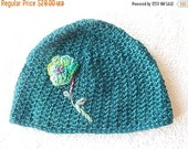CLEARANCE Aqua hat, flower hat, embroidered hat, womens accessory, winter wear