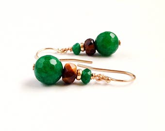 Green Jade earrings - Tiger eye earrings - green brown earrings - green earrings - green gold earrings - 12th anniversary gift - 9th -35th