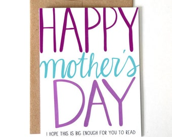 Funny Mother's Day Card - Can't Read