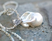 Large White Flameball Baroque Freshwater Pearl Gem Quality, Pearl, Sterling Silver Necklace, Freshwater Pearl Necklace, June Birthstone