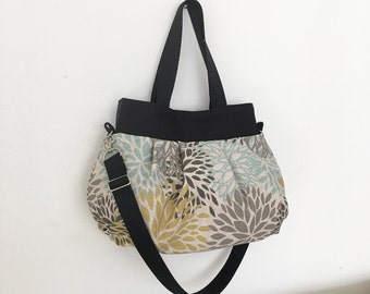 Cross Body Pleated Bag (SMALL or MEDIUM) w/ Adjustable Strap - Blooms Laken Collins