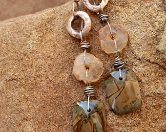 Desert Drop Earrings + Sonoran Desert Colors + Morrisonite Jasper + Ancient Beads + OOAK + Handmade
