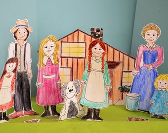 Little House on the Prairie Paper Dolls playset Laura Ingalls Dolls  coloring pages printable