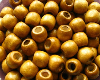 Light Brown Wooden Barrel Beads - Over 100 - 12mm Large Hole Glossy Caramel Brown Wood Beads (WBD0131)