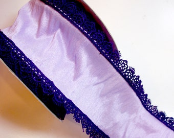 Wide Wired Ribbon, Purple Lace Edge Wired Fabric Ribbon 4 inches wide x 10 yards, Full Bolt of Lion Brand Ribbon