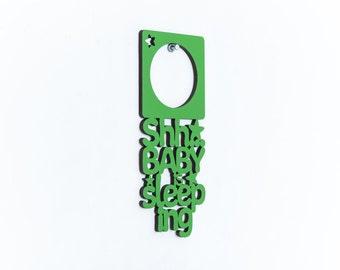 Shh Baby Is Sleeping Door Hanger, Do Not Disturb Baby Hanger, Sleeping Baby Door Sign, Baby Nursery Wood Sign, Baby Wood Door Hanger