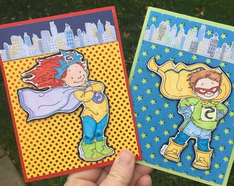 Superhero Handmade Blank Card. Supergirl. Superboy. Birthday. Kids. Children.Adults.