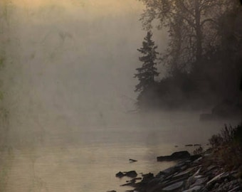 River Fog Print, Peaceful Living Room art, Nature, Serene Bedroom decor, hazy day, Gallery Wrap