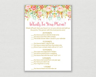 Floral Bridal Shower What's In Your Phone Game / Watercolor Floral / Pink Floral / Bridal Shower Phone Game / INSTANT DOWNLOAD B104