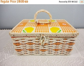 Holiday Sale Vintage 1960's Singer Sewing Basket Woven in Orange with Handle