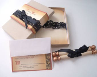 Medieval wedding invitations with black lace, copper accents, scroll invitations, castle invitations, fairytale wedding, set of 25