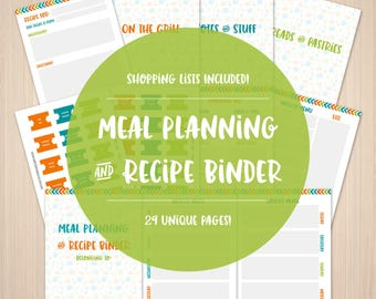 Complete Meal Planner & Recipe Organization Binder for Meal Planning for Home Kitchen - Printable Instant Download Planner for DIY Project