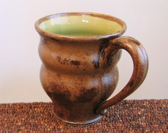 Handmade Coffee Mug, Large Mug, Pottery Beer Stein in Olive and Cocoa - Stoneware Ceramic Coffee Cup 16 oz