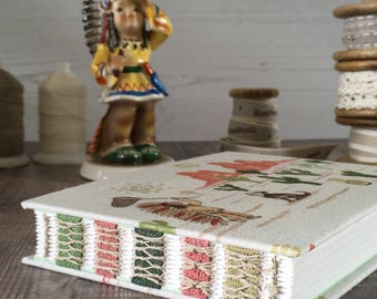 A6  Native American Indian Chief Journal, Notebook, Diary, Sketchbook, Guest book, Handmade, Hand bound, Open spine