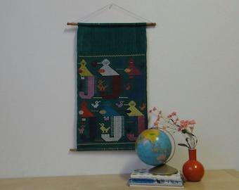 Vintage Guatemalan Bird Embroidered Folk Art Wall Hanging Textile