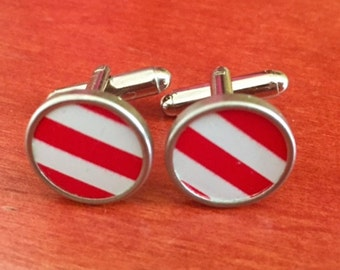 Striped holiday cufflinks made from recycled vintage tins. NO GLUE!  Red and White.  Womens gift. Great holiday gift.  Candy cane.