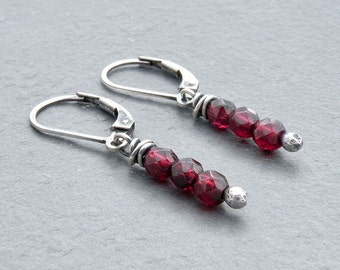 Garnet Earrings, January Birthstone Gemstone, Sterling Silver Lever Back Ear Wires, Red Birthstone, Red Garnet Dangle Earring,  #4718