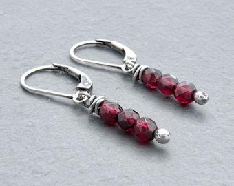 Red Garnet Earrings, Garnet Stack Earrings, Sterling Silver, Deep Red Garnet Gemstones, January Birthstone, Dangle Earring, Lever Back #4718