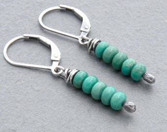 December Birthday Earrings, Turquoise Gemstone, Dangle Earrings, Stacked Beads, Sterling Silver Lever Back Ear Wires,  #4736