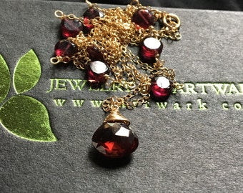 Red drop cherry grade AAA Garnet faceted heart teardrop briolette and garnet round coin long layering Gold filled necklace root chakra om