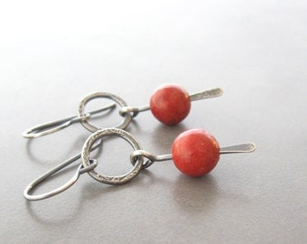 bamboo coral earrings, oxidized silver earrings, red drop earrings, minimalist silver earrings, metalwork earrings, red dangle earrings